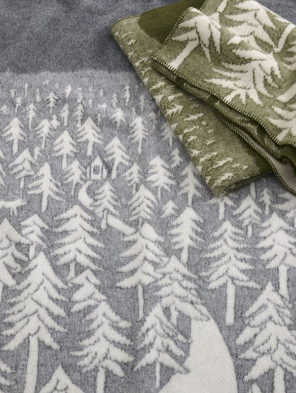 Plaid in lana HOUSE IN THE FOREST 130x180cm Grey-8203